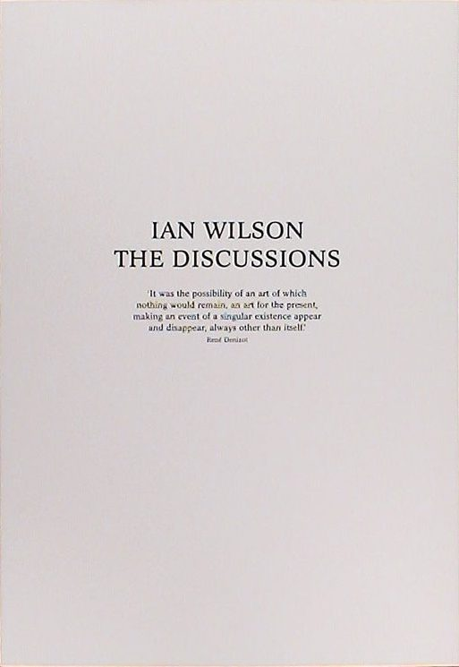 Ian Wilson - Catalogue raisonné